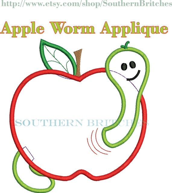 Apple Worm Teacher Apple Worm Applique Embroidery