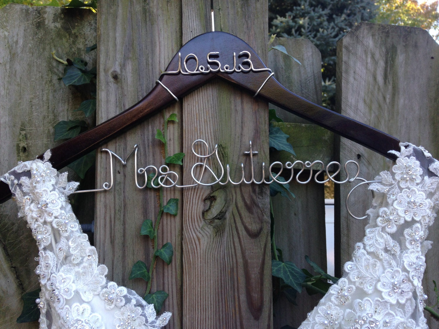 Bride Hanger with Date Wedding Hanger Bridal Hanger