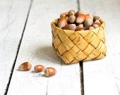 Vintage Birch Bark Basket, Swedish Handwoven Natural Basket, Rustic Style Home decor, Cottage Decor