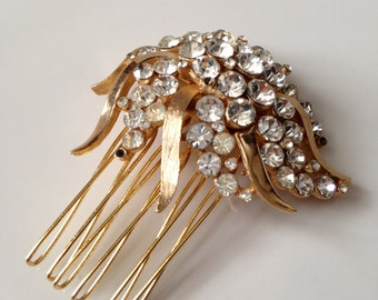 Vintage, bridal comb, gold plated, rhinestones, head piece - style 68