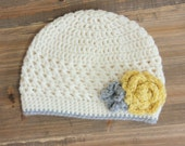 Baby Girl Crochet Flower Hat, Cream Girl Hat with Gray and Gold Flowers.