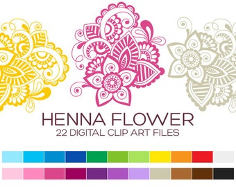 Henna Flower Clipart for Personal & Commercial Usage - 22 digital flowers / 3x3.5 inches - A00097