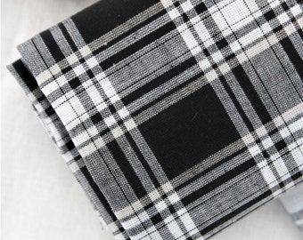 Yarn Dyed Cotton Linen Black and White Plaid - Black - By the Yard 44474