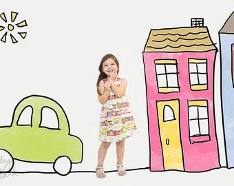 Girl dress - Village wonderland pink Aline dress - Baby girl - Toddler girl dress - size 0-3m, 3-6m, 6-12m, 12-18m, 18-24m, 2T, 3T, 4T, 5T