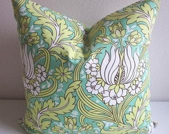 Amy Butler Temple Tulips Pillow Cover Emerald Green Pillow Decorative Pillow Throw Pillow Floral Pillow Cotton Sateen Pillow