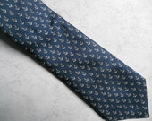 Anchors Away! Vintage Nautical Necktie / Sailing / Cruise / High Seas / Made in Italy / 100% Silk