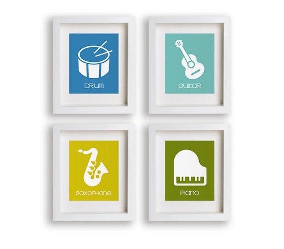 Music Maker - Set of Four Instrument Prints - Nursery Art, Modern Kids Wall Art, Toddler Gift, Playroom Decor, Instruments, Musical Kids