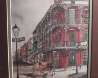 Vintage framed and matted print by Knut Engelhardt jborn in Germany this is the Lace building
