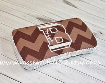 Brown Chevron with Football Font Applique - Personalized Diaper Wipes Case