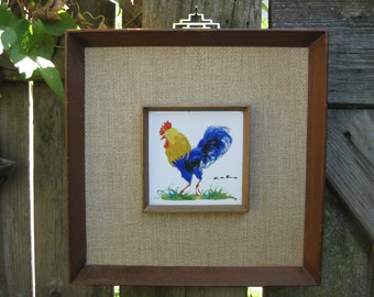 ... Framed Art Tile- -Artist Signed -Oriental Brass Hanger-Grass Cloth Mat