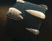 18k White Gold with Black & White Pave' Diamond on Black Galuchat Wide Cuff