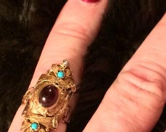 Elegant Antique Victorian Handmade 14k & Rose Gold Ring