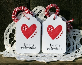Valentine Gift Tags - Set of 12 - be my Valentine - with heart