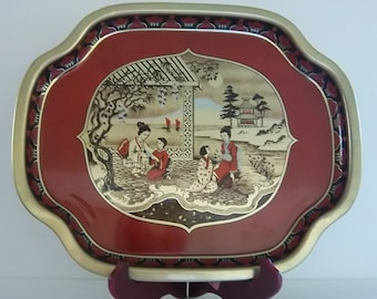 Extra Large Peaceful Geisha Tray - High Quality - Made in England - Vintage Asian Home Decor