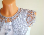 Detachable silver lace COLLAR Crochet lace collar Detachable collar Neck jewelry