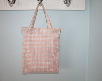 Small Peach And Light Green Pastel Plaid Ruffle Tote