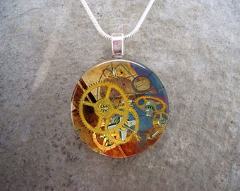 Steampunk Necklace - Glass Pendant Jewelry - Steampunk 2-7 - RETIRING 2017