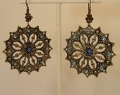 Large brass and Swarovski Crystal Earrings, Lightweight Large Disk Earrings, Blue Crystal Earrings