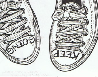 Keep Going Illustrated Converse Tattooed Shoe Postcard Print