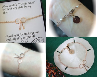 6 Bow Bridesmaid Bracelets Personalized, Tie the Knot, Initial Charm, Bridesmaid Gifts, Bow Bracelet, Rose Gold, Pink Knot, Thank you card