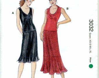 Misses Top and Skirt Pattern -  Kwik Sew 3032 XS - S - M - L - XL - Designed for Stretch Knits