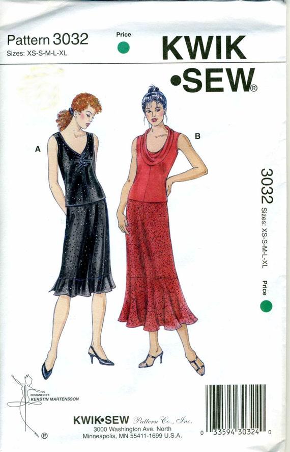Kwik Knit Patterns : Items similar to Misses Top and Skirt Pattern - Kwik Sew 3032 XS - S - M - L ...