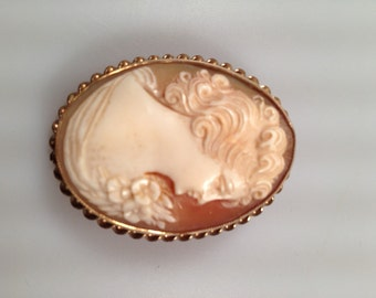 Vintage CAMEO Brooch Genuine Hand Carved Shell AMCO 14K Gold Filled A. Micallef and Company