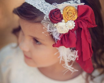 Fall colors...Deep Red, Yellow Gold and Ivory SIlk Rolled Rosette Headband, Feathers,  silk rosettes Pearls