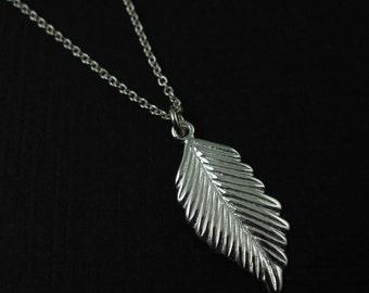 925 Sterling Silver Necklace , Leaf  Charm Necklace  - Everyday Necklace - SKU: 611050