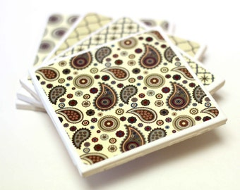 Coasters set of 4, Ceramic Coasters, retro coasters,paisley, ready to ship