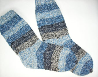 Men Wool Socks -Hand Knitted Wool Socks For Men-Colorful socks-Size Large US 11,5,EU45-House Wool Socks -Handmade Wool Socks