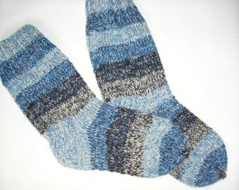 Men Wool Socks -Hand Knitted Wool Socks For Men-Colorful socks-Size Large US 11,5,EU45-House Wool Socks -Handmade Wool Socks