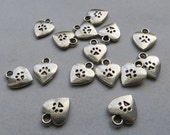20 Paw Prints Heart Mini Charms Paw on Both Sides Read Item Details Atq Silver Tone Dog Cat Pet Paws Hearts Charm Jewelry 9.5x11.75 mm