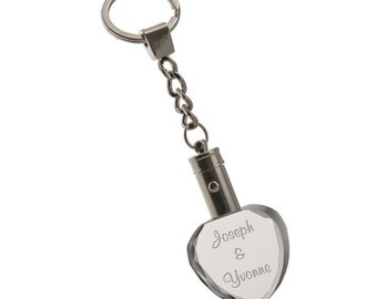Engraved Light Up Crystal Heart Keychain