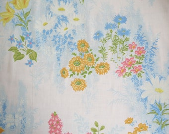 Vintage Sheet Fabric Fat Quarter - Little Floral on Blue