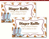 Western Baby Shower  - Diaper Raffle - Baby Shower - Set of 10 Cowboy  Instant Download Digital