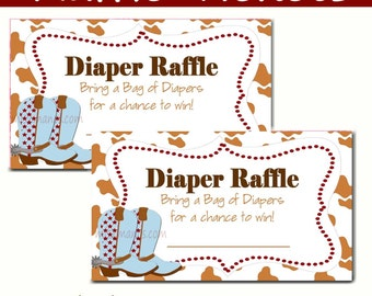 Western Baby Shower   Diaper Raffle   Baby Shower   Set Of 10 Cowboy  Instant Download