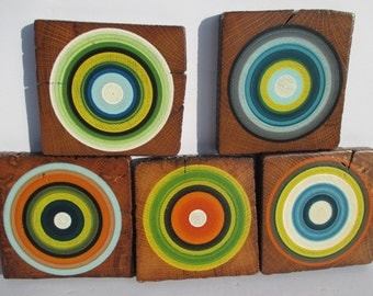 Sea Scape Coasters from Reclaimed Barn Beam Wood -  Set of 5 (5RBBWC7)