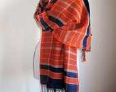 Turkish  Scarf, handwoven Scarf, Women Accessories, Scarves,  Wrap Scarf , Aztec Scarf, Fringed, Orange, Dark blue Scarf, Gift Ideas