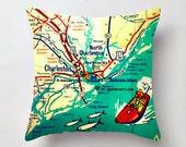 South Carolina Map Pillow Cover, Throw Pillow, Decorative Pillow, Charleston SC, Sullivans Island, Folly Beach House Decorative Throw Pillow