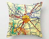 CHARLOTTE North Carolina Map Pillow NC  | Decorative Throw Pillow Cover | Retro Map Print