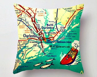 South Carolina Map Pillow Cover, Custom SC map, Any City or SC Beach Map, Columbia, Hilton Head, Charleston Throw Pillow, Decorative Pillow,