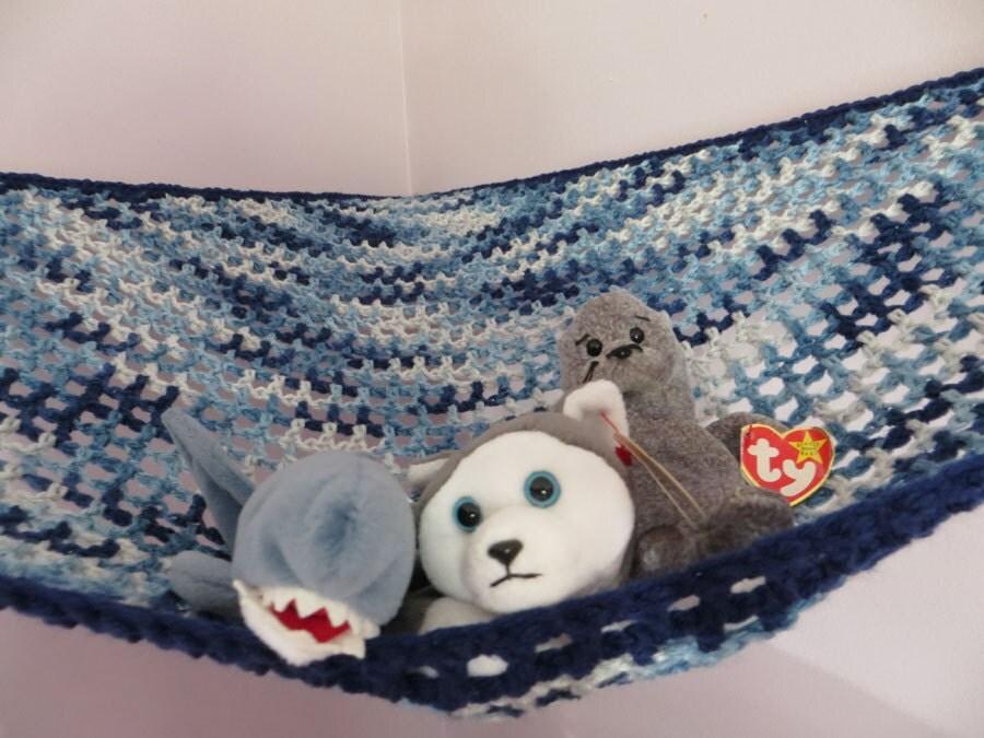 large crochet toy net stuffed animal storage in by justyarning. Black Bedroom Furniture Sets. Home Design Ideas