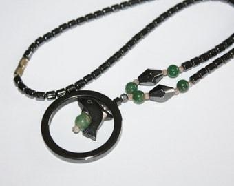 Hematite Necklace  Jade Dolphin Pendant 1970s Jewelry