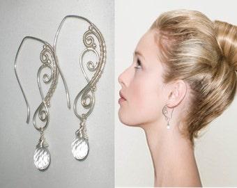 Sterling SIlver Wire Wrapped Earrings, Handmade Silver Earrings, Clear Rock Crystal Wire Wrapped Silver Earrings, Statement Earrings