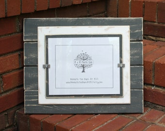 8x10 Picture Frame - Distressed Wood - Double Mats - Horizontal Boards with Horizontal Photo - Gray & White