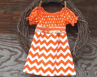 Girls Orange Dress, Girls Peasant Dress, Girls Chevron Dress, Orange Chevron, all sizes