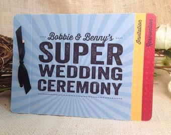 super hero wedding livret booklet invitation get started deposit - Superhero Wedding Invitations
