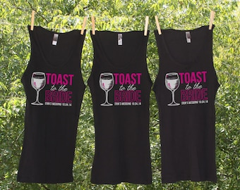 Sets - Toast to the Bride Bachelorette Party Shirts Personalized with name and date-TW