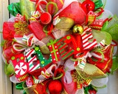ONE Left!!! HUGE - Believe - Christmas Deco Mesh Wreath - Red and Lime Wreath - Polar Express - Deco Mesh Swag Garland
